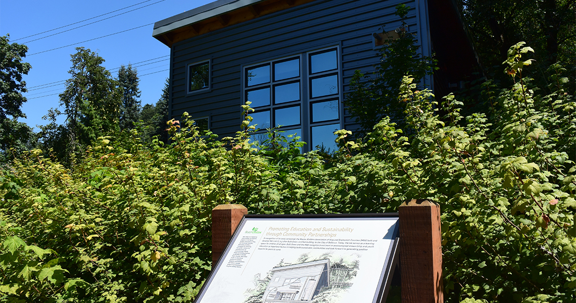 Built Green house with informational sign
