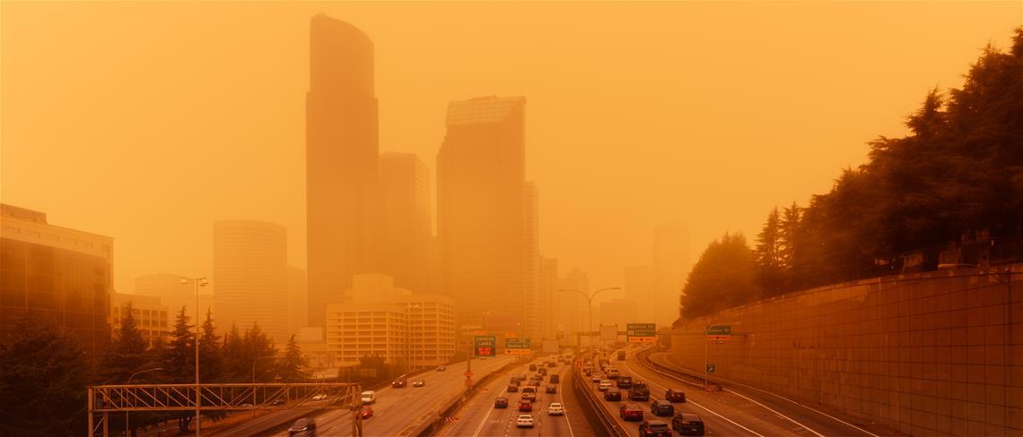 Seattle in wildfire smoke