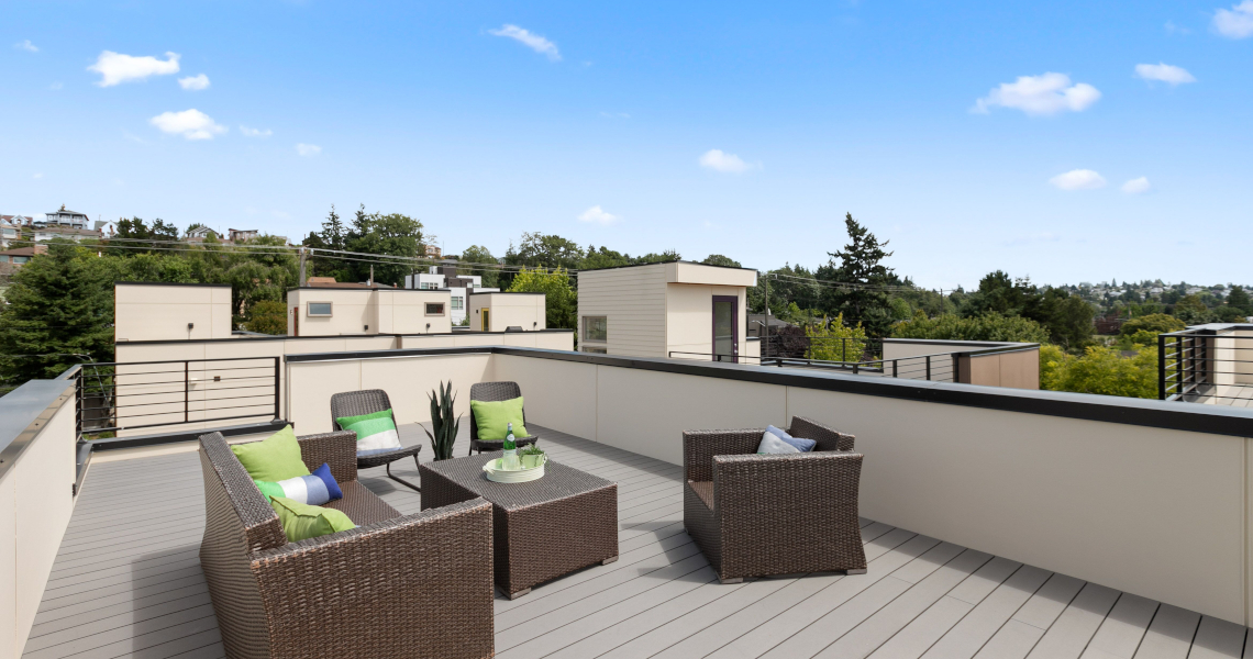 Haberzetle Homes Playful All-Electric 4-Star Townhomes roof deck
