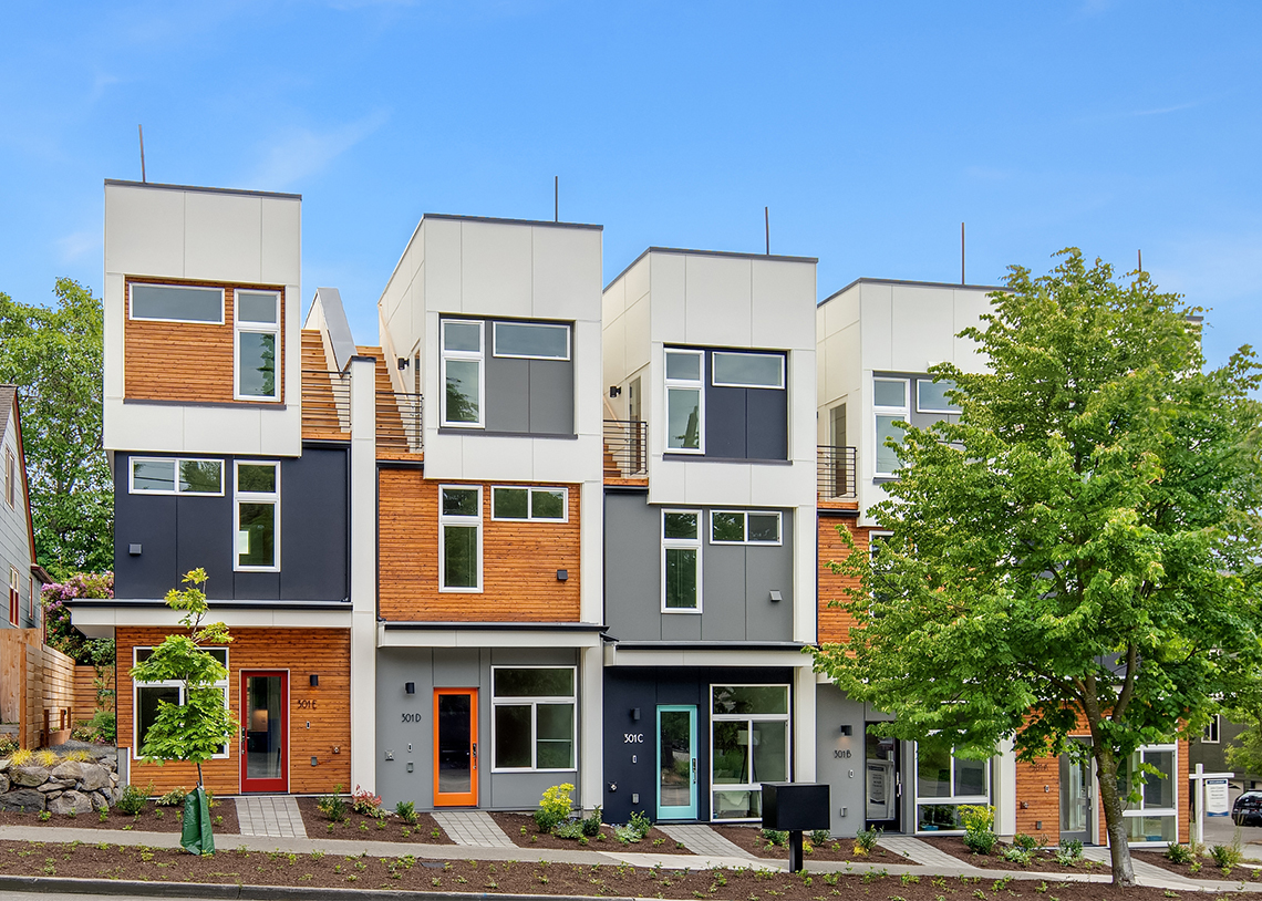 Blackwood Builders Group Built Green 4-Star Greenwood Ave. townhomes exterior, photo credit Clarity Northwest