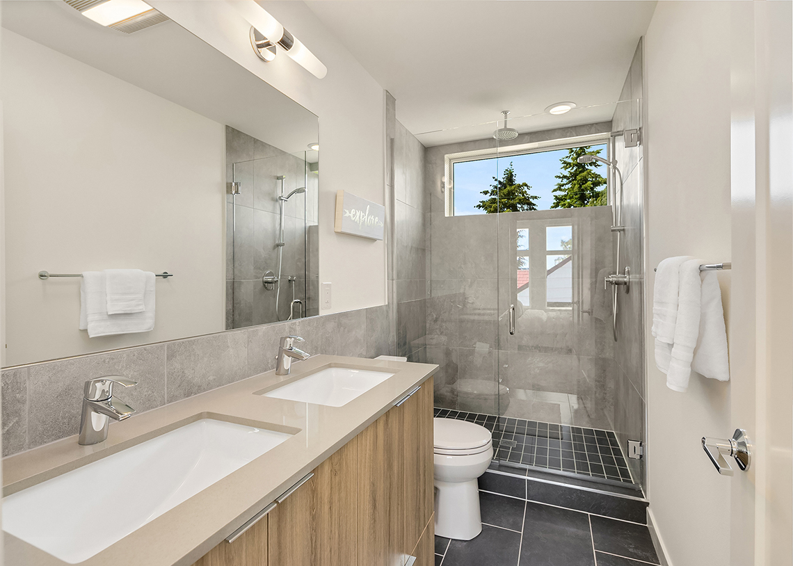 Blackwood Builders Group Built Green 4-Star Greenwood Ave. townhomes bathroom, photo credit Clarity Northwest